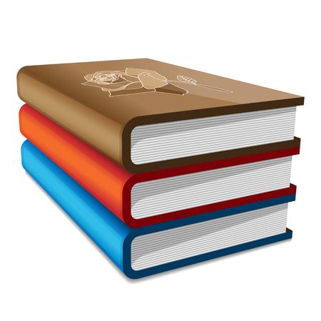 Books stack isolated on white background. vector illustration Illustration