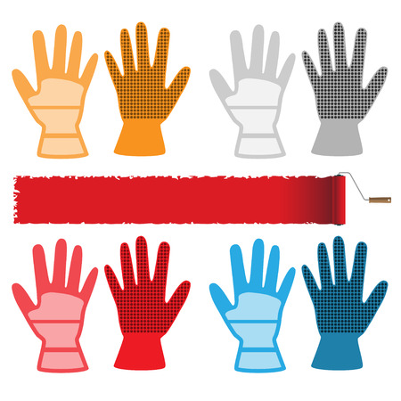 rubber glove: Construction gloves isolated on white background. Set of icons. Vector illustration.