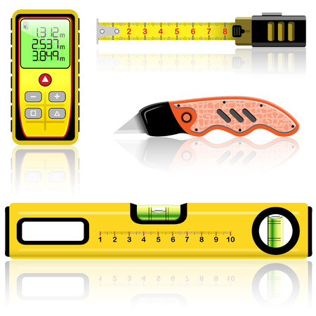 finder: Yellow laser range finder, spirit level, tape measure, knife construction isolated on white. Vector illustration.