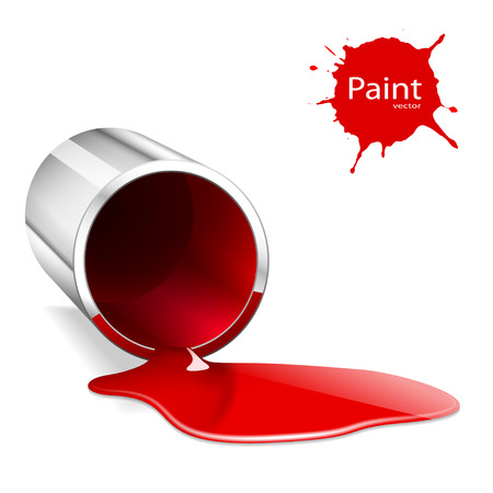 capacity: Illustration of metallic capacity with a red paint. Vector.