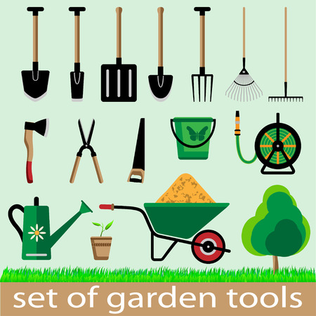 crop sprayer: Set of garden tools. Icon. Vector illistration. Illustration