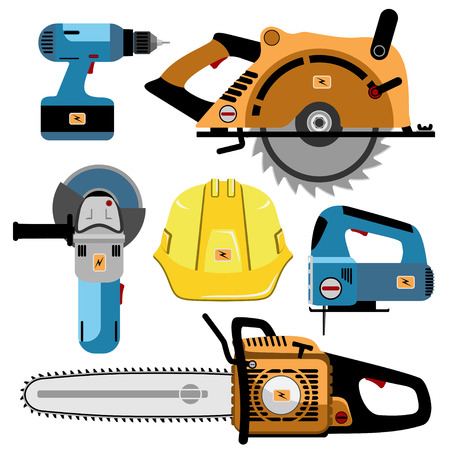 electrical equipment: Building Tools Electric isolated on white background. Set icon. Vector illustration.