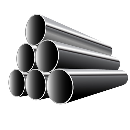 Steel Pipes isolated on white background. Vector illustration. Vector