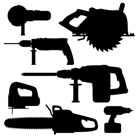 tool chuck: Electric Tools isolated icons on white background. Set. Vector illustration.