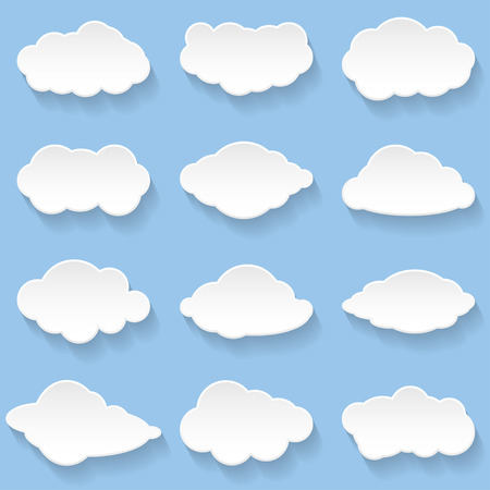 Messages in the form of Clouds. Set, Illustration Vector. Çizim