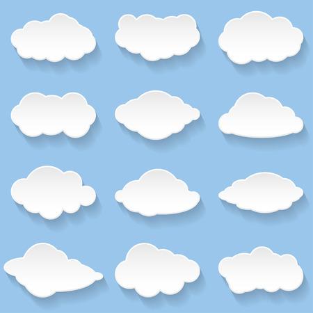 Messages in the form of Clouds. Set, Illustration Vector. Illustration
