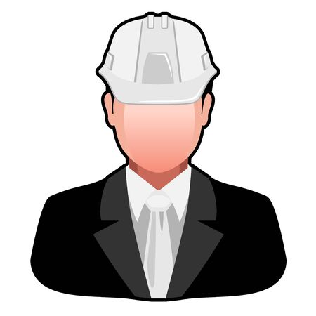 Icon Engineer in Safety Helmet isolated on white background. Vector illustration.