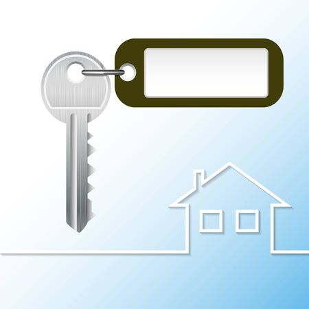 opportunity concept: Illustration Key to the castle with tag and house. Vector.