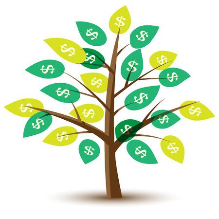 pieniądze: Drzewo pieniędzy z liśćmi w dolarach. Ilustracja