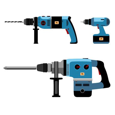 presslufthammer: Illustration Building Tools Elektrische isoliert auf weißem Hintergrund. Illustration