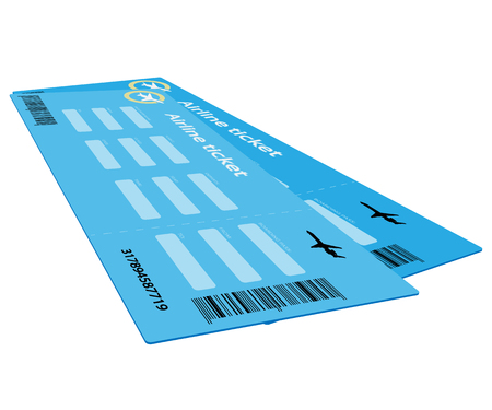 Vector Airline Ticket Isolated on white background. Illustration.