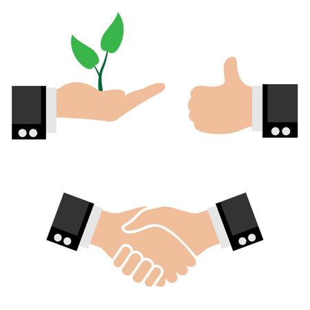 apreton de manos: Ilustración Iconos de negocios. Socios apretón de manos Sprout árbol en la mano, signo de un buen. Vector.