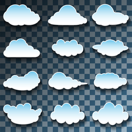 blue clouds: Vector Messages in the form of Clouds on Transparent background. Set, Illustration