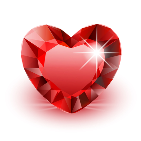 Vector Icon Diamond Heart for Valentine on white background. Illustration.