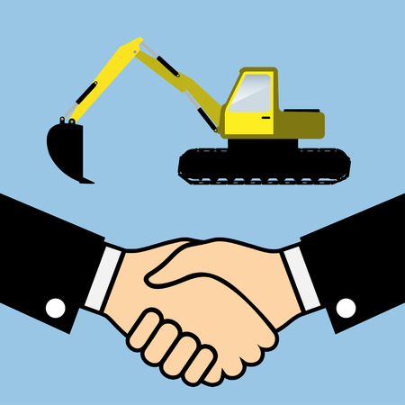 industrial icon: Illustration of Business Partners Handshake on the background of the Excavator. Vector.