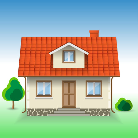 exterior house: Vector House Icon on Nature background. Illustration.