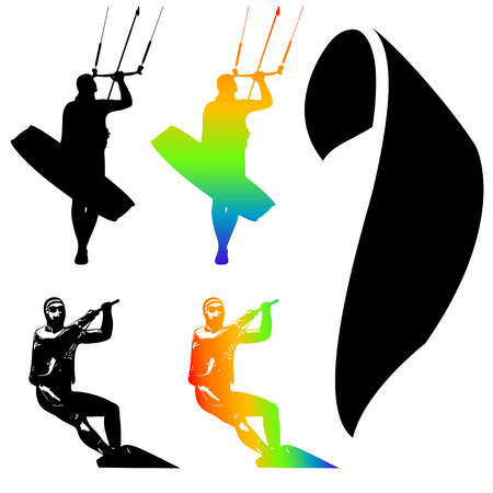 Illustration Icons of Kiteboarding. Extreme Sports. Vector.