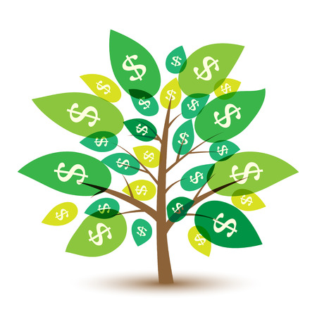 Icon money tree with leaves in dollars. Vector Illustration. Vettoriali
