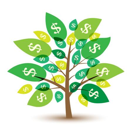 pieniądze: Drzewo pieniędzy Ikona z liśćmi w dolarach. Ilustracja wektora.