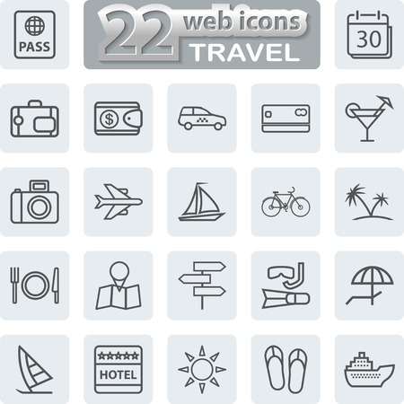 sail fin: Travel Symbols and Tourism Icons.