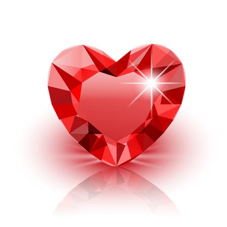 coeur diamant: Icône rouge Coeur de diamant pour la Saint-Valentin sur blanc