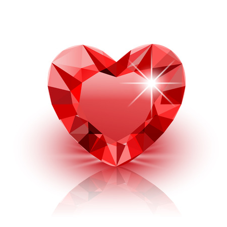 white heart: Icon red Diamond Heart for Valentine on white