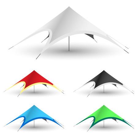 白地に星のテント