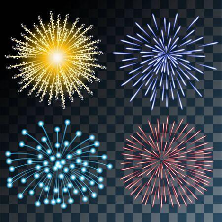 fuegos artificiales: Fuegos artificiales de colores sobre fondo transparente. Conjunto de ilustraciones. Vector EPS10. Vectores
