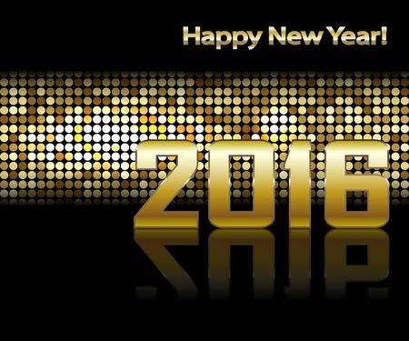 wall decor: New-year Date on Golden Mosaic Background Illustration