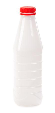 dairying: Plastic bottle of milk isolated on white background Stock Photo