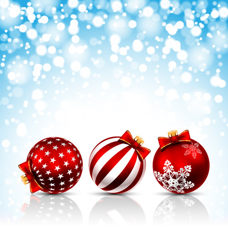 holiday background: Three Red Christmas Balls on holiday background. Illustration vector EPS10