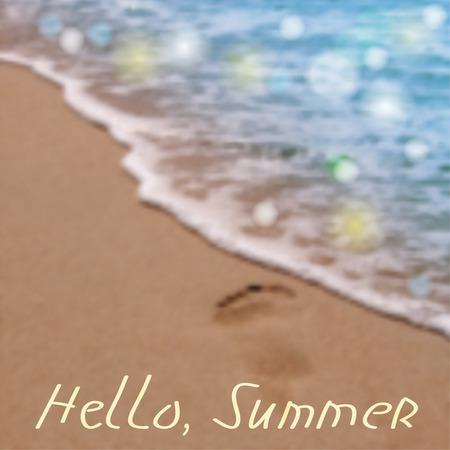 footprint sand: Hello Summer. Beach and Sea. Illustration vector