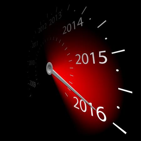 compteur de vitesse: Tachymètre avec la date du Nouvel An 2016. Vector illustration.