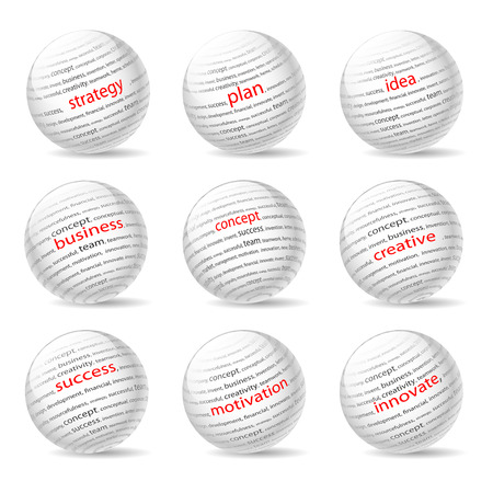 innovate: Balls on the Business theme, on white background. Illustration Vector