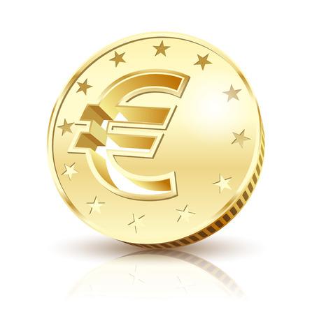 dinero euros: Moneda de euro de oro aislado en un fondo blanco. ilustración del vector