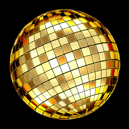 retro disco: Golden Disco Ball on a black background. Vector Illustration