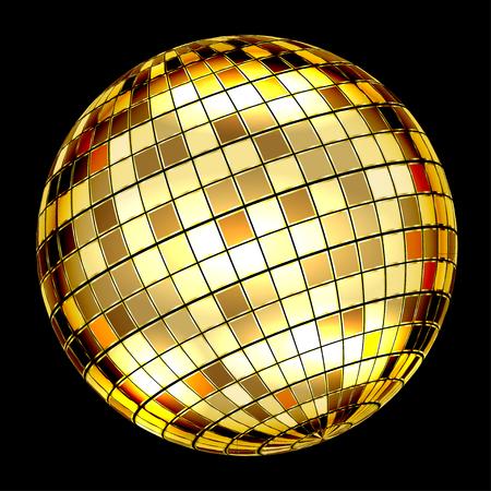 Golden Disco Ball on a black background. Vector Illustration
