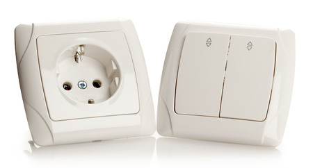electric socket: Electric Socket and Switch on White background.