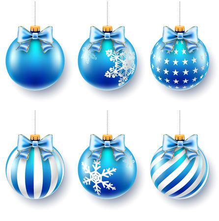 moños de navidad: Bolas de Navidad azul sobre arcos de regalo aislados en blanco. Ilustración del vector.