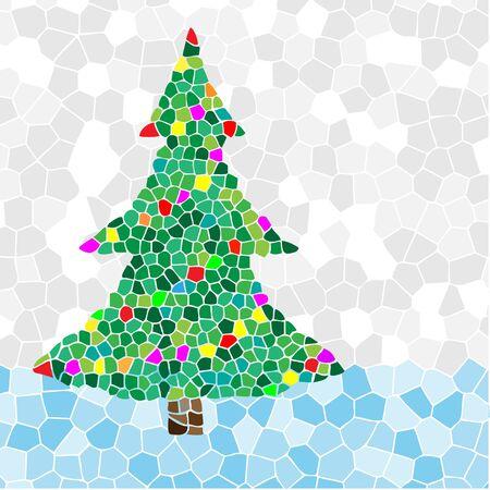 hristmas: Ñhristmas Tree mosaic. Illustration vector EPS10.