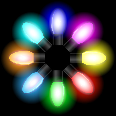 color of year: Christmas and New year color light bulbs on black background. Illustration vector EPS10.
