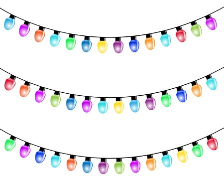 christmas bulbs: Christmas Light Bulbs Isolated white background. Illustration Vector  Illustration