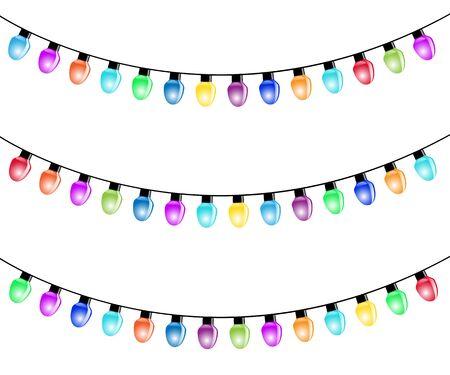 christmas garland: Christmas Light Bulbs Isolated white background. Illustration Vector  Illustration