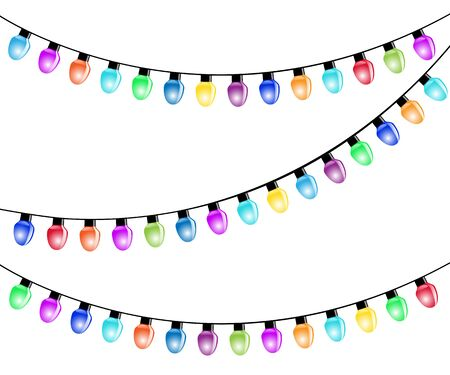 isolated on white: Color Christmas Light Bulbs Isolated white background. Illustration Vector