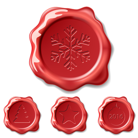 seal stamp: Christmas Seal Wax Isolated on white background. Illustration Set Vector