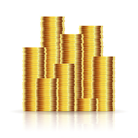 Gold Coins on a White background.Illustration Vector Illustration
