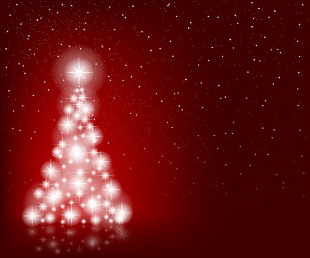 poster art: Christmas Tree, Stars and Winter Red Background. Illustration  Vector Eps10. Illustration