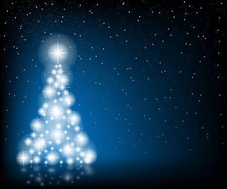 christmas tree illustration: Christmas Tree, Stars and Winter Background. Illustration  Vector