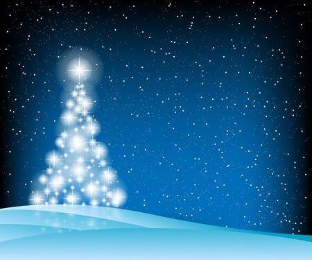 blue christmas background: Christmas Tree, Stars and Winter Blue Background. Illustration  Vector