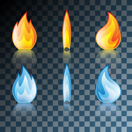 Red and Blue Flame Icon Set Isolated on Transparent background. Illustration Vector